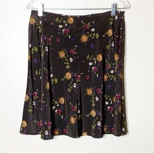Vintage INC Dark Floral Print Circle Skirt
